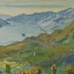 """Acquarello 30x43 """"Vom Monte Brè über Locarno"""", Kurt Tuch, 1935"""