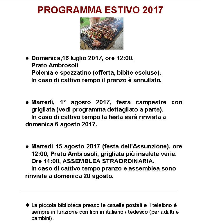 programma estivo 2017